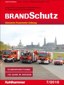 """Titelbild """"BRANDSchutz"""", Ausgabe 7/2018, Kohlhammer-Verlag"""